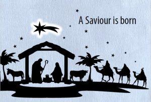 A nativity scene in silhouette