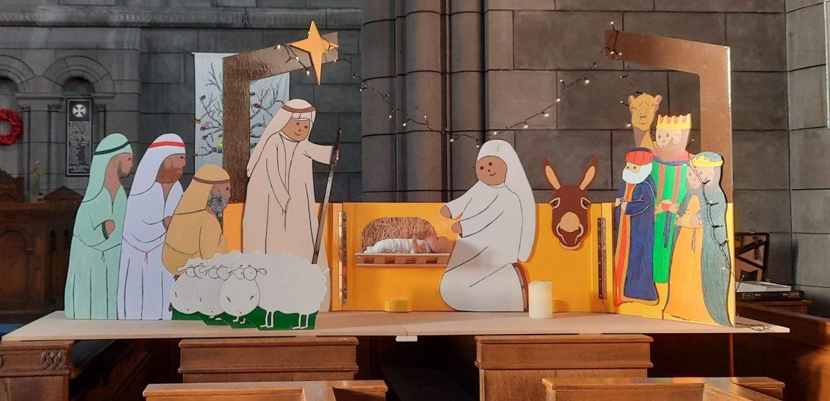 Nativity scene in church